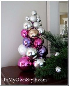 Awesome DIY Christmas Home Decorations and Homemade Holiday Decor Ideas - Quick and Easy Decorating ideas, cool ornaments, home decor crafts and fun Christmas stuff  | Crafts and DIY projects by DIY Joy  |  Tabletop Knitting Needle Ornament Tree |  http://diyjoy.com/diy-christmas-decor-holiday-decorations