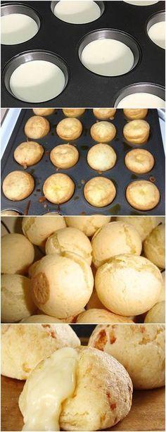 Aprenda a fazer pão de queijo no liquidificador❤️ VEJA AQUI>>>Bata tudo no liqüidificador, depois misture (sem bater) com uma colher 1 xícara de chá de queijo parmesão ralado. Coloque em forminhas #MASSAS#PAODEQUEIJO#PAES#
