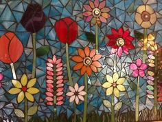 Flower garden mosaic panel by lowlightcreations on Etsy Mosaic Tile Art, Mosaic Diy, Mosaic Garden, Mosaic Crafts, Mosaic Projects, Mosaic Glass, Glass Art, Stained Glass, Mosaic Madness