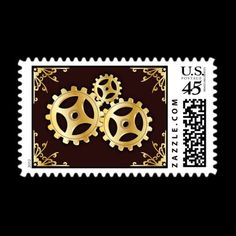 Steampunk Save-The-Date Postcard Stamp by lilana