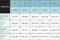 7c2af96b7 Resultado de imagem para tamanhos p m g gg em numeros (calça jeans)