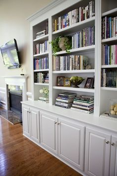 S look like yours. make them more contemporay by taking off crown moldig,replace doors with flat panels & possibly adding planks to backs of bookshelves.built in bookshelves with cupboards for family room