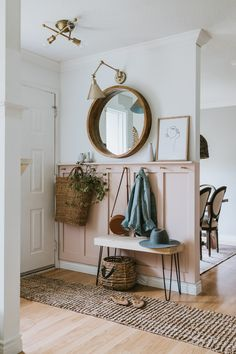 DIY Blush Board and Batten Entrance. What Colour Paint we used and how to do your own board and batten wall. Our Modern Farmhouse Entrance Home Entrance Decor, House Entrance, Entryway Decor, Diy Home Decor, Room Decor, Apartment Entrance, Front Entrance Decorating, Small Entryway Organization, Small Hallway Decorating
