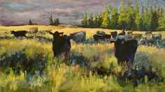 This one hangs in the Governor's office:) Evening Cattle on West Pass by Sonja Caywood Oil ~ 14 x 24
