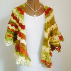 Shawl & half mittens in autumn colors by JezebelAdrian on Etsy