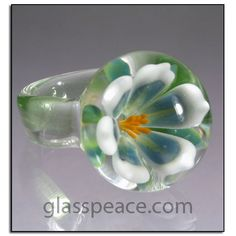 SALE Glass Flower Ring - Lampwork Ring Size 7 by Glass Peace $24.00
