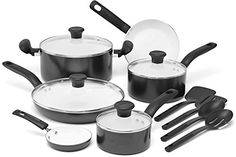 #cooking #T-fal C921SE64 Initiatives Ceramic Nonstick PTFE-PFOA-Cadmium Free Dishwasher Safe 14-Piece Set Cookware, Black. The set includes: 8-Inch Fry Pan, 11-I...