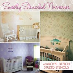 Stenciled Nurseries with sweet calming painted walls - Wall stencils by Royal Design Studio - Nursery Decor for Your Baby