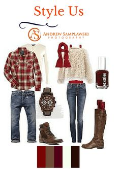 """Couples Autumn What To Wear"" red + tan + denim + brown Couple Outfits, Family Outfits, Fall Family Picture Outfits, What To Wear Fall, How To Wear, Winter Family Photos, Family Pics, Family Pictures What To Wear, Fall Photos"