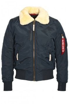 1ac78f0a0b8 Alpha Industries Injector III Rep Blue Shear Collar Bomber Jacket