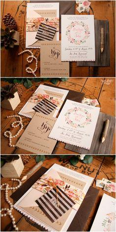 Boho Wedding Invitation - Rustic Floral Invitation Set - Vintage Hipster Wedding Invites - Woodland - Printable or Printed