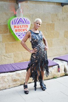 """Bike tire couture? YES! Local Austin designer Ruth Waddy (pictured here in one of her creations) makes gorgeous handmade wearable works of art using re-purposed bicycle innertubes as her medium.  it's rubber that looks like leather, must be seen to be believed! Stop by Austin Rocks to check out pieces from her collection """"ruthless"""""""