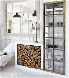I love this idea of using old windows to make your own glass-door cabinet!