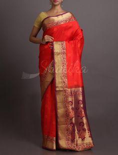 Anju Bold And Beautiful Ornate Pallu #WeddingSilkSaree