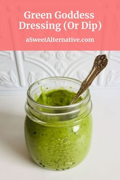 This vegan green goddess dressing is perfect on salad greens or used as a dip for raw veggies. Vegan Lunch Recipes, Gluten Free Recipes For Dinner, Healthy Gluten Free Recipes, Sugar Free Recipes, Dinner Recipes, Green Goddess Dip, Green Goddess Dressing, Sugar Free Salad Dressing, Nut Free Pesto