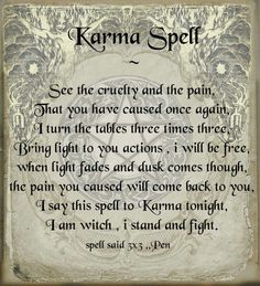 Karma spell - Pinned by The Mystic's Emporium on Etsy