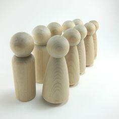 10 Tall Wood Peg Dolls
