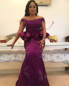 Latest Aso Ebi Lace Styles 55 Aso Ebi Styles That Will Inspire You This Weekend African Lace Styles, African Lace Dresses, Latest African Fashion Dresses, African Dresses For Women, African Print Fashion, African Attire, Ankara Styles, Ankara Tops, African Style
