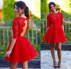 Long sleeve red homecoming dress, lace homecoming dress, short prom dress, Open back homecoming dress, 15013 sold by OkBridal. Shop more products from OkBridal on Storenvy, the home of independent small businesses all over the world.
