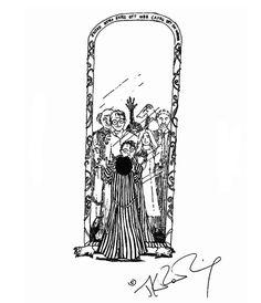 Harry devant le miroir du Riséd, dessin de JJ.K. Rowling