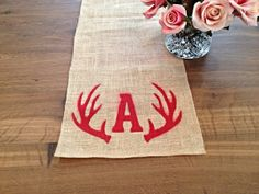 Custom Burlap Table Runner with Antler design,  24 Colors Available!