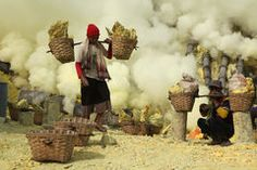 Sulphur mines Kawah Ijen in East Java, Indonesia Royalty Free Stock Images