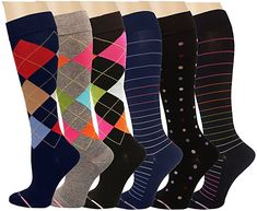 Amazon.com: Ladies 6 Pair Pack Compression Socks (Assorted III): Health & Personal Care Socks, Packing, Personal Care, Pairs, Ankle, Amazon, Lady, Health, Stuff To Buy
