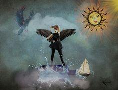 "Susie Clevenger on Instagram: ""Out of the Blue #digitalcollage #artexpression #thedarkinmylight #artheals #artistsofinstagram #artwork #arttherapy #alwayslearning…"" Digital Collage, Collage Art, Art Therapy, Artist, Artwork, Blue, Painting, Instagram, Work Of Art"