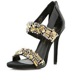 shoes--boots/heels/Black-embellished-sandals ❤ liked on Polyvore