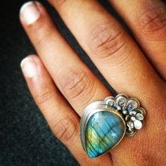 The Lady and Her Labradorite Statement Ring in sterling silver. Filigree and flower accents :: The Rare Bird