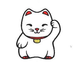 Maneki Neko Japanese Fortune Cat Embroidery Design