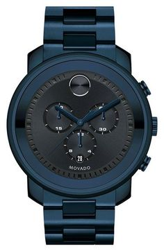 Free shipping and returns on Movado 'Bold' Chronograph Bracelet Watch, 44mm at Nordstrom.com. Precise chronograph complication fine-tunes the sunray dial of this slick monochrome bracelet watch finished with unique ink-blue ionic plating. Movado's signature Museum dot and stylized indexes detail the beautiful look. #menwatches