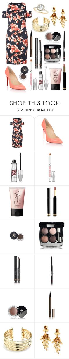 """Untitled #86"" by lightbody-joanna on Polyvore featuring Dorothy Perkins, Christian Louboutin, Benefit, NARS Cosmetics, Gucci, Chanel, Hourglass Cosmetics, Belk Silverworks, Oscar de la Renta and Allurez"