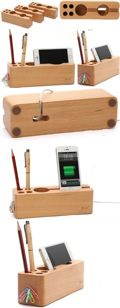 Bamboo Wooden iPhone Smart Phone Cell Phone Charger Charging Station Holder Pen Pencil Holder Stand Business Card Display Stand Holder Paper Clip Holder Collection Storage Box Organizer USB Charge Cable Cord Organizer to Charge your Phone and Tablet ,Charging Station Ideas to to Make More Tidy Cables