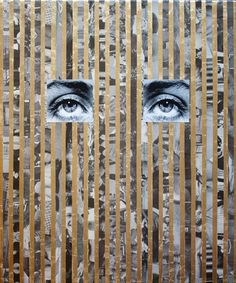 """Anna Ostoya. Lee No. 1. 2013. Pigmented inkjet print, gold leaf, and newspaper on canvas, 24 x 20"""" (61 x 50.8 cm). Courtesy the artis..."""