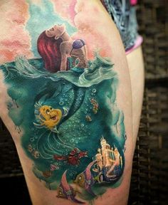the little mermaid tattoo, disney tattoo Nature Tattoos, Body Art Tattoos, New Tattoos, Tatoos, Arrow Tattoos, Friend Tattoos, Finger Tattoos, Black Tattoos, Little Mermaid Tattoos