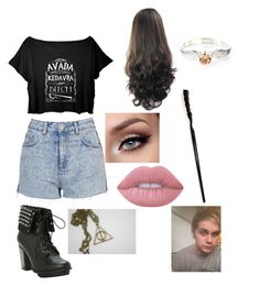 """""""Harry Potter with Michael for Katie"""" by thatrandomnerdygirl on Polyvore featuring Topshop and Lime Crime"""