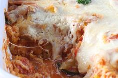 Spaghetti Squash Parmesan - spectacular casserole using lots of garden veggies. #spaghetti squash #cheese #casserole #veggies #meatless mondays #main dish #side dish #gluten free
