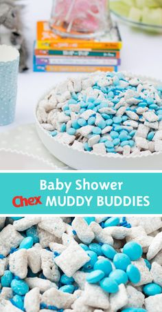 Muddy Buddies Recipe Celebrate the mom-to-be with this baby shower treat from Chex. Add blue, candy-coated chocolate pieces to homemade Muddy Buddies for a sweet snack that all your guests will devour. Baby Shower Snacks, Baby Shower Games, Baby Shower Parties, Baby Boy Shower, Baby Showers, Baby Shower Candy, Desserts For Baby Shower, Food For Baby Shower, Homemade Baby Shower Decorations