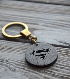 Supermen wooden key chain Comics Keychain Gift for Him Dad Men Wood Housewarming…