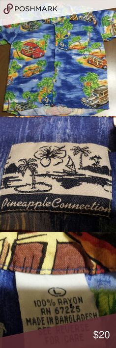 Vintage PINEAPPLE CONNECTION Button Down Hawaiian VTG PINEAPPLE CONNECTION Woodies Woody Cars Palm Trees Button Up Blue Large Great pineapple connection shirt. Button down, short sleeve, super cool woody cars with palm trees! Show of your Aloha style! See pics for measurements. Pinnapple Connection Shirts Casual Button Down Shirts