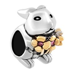 Charms Beads - spring flower bunny rabbit animal silver plated beads charms bracelets fit all brands Image.