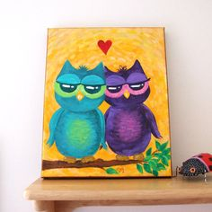 """OWL always LOVE YOU No.2 , 8x10 Acrylic Canvas, Owl Painting, Romantic Art...perfect for the bathroom in """"our"""" colors :)"""