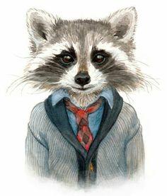 Prepster Raccoon ~ Cute preppy illustration