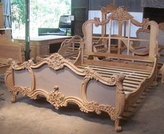 Hand Made Rococo King Bed by Mbw Furniture Sofa Design, Wood Bed Design, Bedroom Bed Design, Luxury Furniture, Bedroom Furniture, Furniture Sets, Furniture Design, Bedroom Decor, Custom Furniture