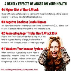 """#anger #health Everyone gets angry. But according to Dr. Don Colbert, M.D., author of Deadly Emotions, anger can profoundly damage your health. """"Depression, anger, guilt, condemnation, low self-esteem…these are only a few of the lethal toxins…,"""" Dr. Colbert warns."""
