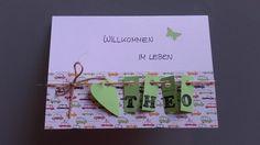 Süße Karte zur Geburt oder Taufe! Einfach Wunschnamen mitteilen - wird mit Umschlag und Schutzfolie versandt - mit Liebe handgefertigt