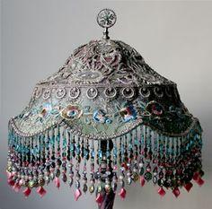 Antique metallic lace lamp