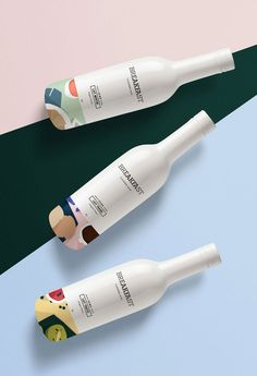 Breakfast milk is reimagined bringing a sleek collection of flavored milk to the table. Flavors include mint, strawberry, and assorted fruits, all of which are packaged in an elegant, white bottle