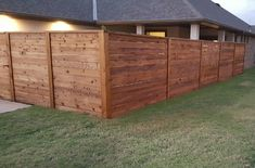 Taylor Made Fence stained corner angle cropped - Modern Design Wood Privacy Fence, Privacy Fence Designs, Diy Fence, Backyard Fences, Fence Ideas, Gate Ideas, Cedar Fence Stain, Staining Wood Fence, Horizontal Slat Fence